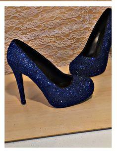 Womens Sparkly glitter high mid & low pumps peep toe heels shoes navy dark blue Wedding bride sweet 16 birthday girl prom