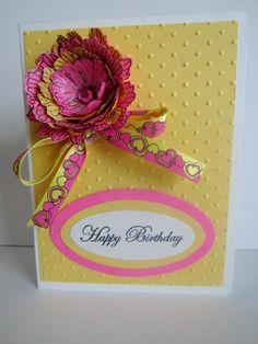 Pink Flower and Yellow handmade birthday card