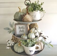 """As I unpacked my fall decor, I thought I'd take a shot at what I'd call a """"neutral"""" fall tray. It still has color but for… As I unpacked my fall decor, I thought I'd take a shot at what I'd call a """"neutral"""" fall tray. Fall Home Decor, Autumn Home, Fall Kitchen Decor, Rustic Fall Decor, Blue Fall Decor, Kitchen Ideas, Modern Fall Decor, Fall Mantle Decor, Kitchen Island Decor"""
