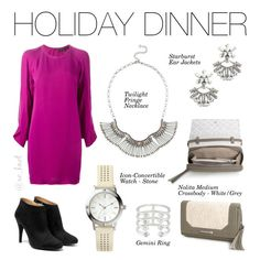 Stella & Dot   Holiday Dinner   Neutral sparkle and silver fringe form this carefree statement necklace. Add some fun to your wardrobe! Shown: Twilight Fringe Necklace, Starburst Ear Jackets, Nolita Crossbody White/Grey, Icon-Convertible Watch - Stone, Gemini Ring #Stelladot #StelladotStyle #Holiday #WomensFashion #Winter #HolidayCollection #NewArrivals