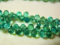 Half Strand Blue Apatite Original Briolette, Faceted Drops Briolettes, 5x7mm approx, 35 Pieces Approx, 4 Inch by GemsForJewels24 on Etsy