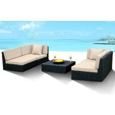 Outdoor Wicker Furniture New All Weather 5pc Patio Deep Seating Sectional Sofa Set