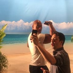 """""""Oh my God that is the Rock.. GASTON!""""  For our next act Lin Manuel Miranda and I will tour the globe singing hip hop music in the spirit of show tunes. After working w/ Lin on our movie #MOANA and having the privilege of singing songs he wrote, it's easy to see why the creator of Broadway's Pulitzer Prize winning HAMILTON is a genius. And the best part about it is he's a genuinely great and humble dude. Look forward to working w you again my friend. #LinManuel #TheRock #TheHipHopShowTune..."""