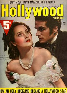 Merle Oberon and Laurence Olivier on the cover of Hollywood Magazine, May 1939, USA.