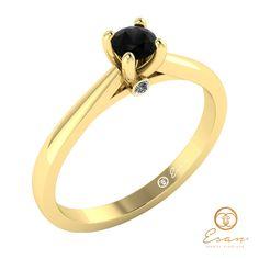 Inel de logodna din aur cu diamant negru ES29 Aur, Engagement Rings, Bracelets, Gold, Jewelry, Enagement Rings, Wedding Rings, Jewlery, Bijoux