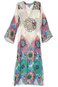 Calypso St. Barth Tierz Silk Hand-Embroidered Caftan, $650.