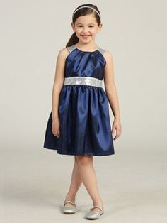 ff39b1287219 Flower Girl / Holiday Dress Style Taffeta Party Dress with Sequin Accents - Dark  Blue - Flower Girl Dress For Less