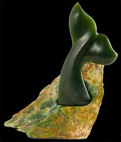 Nephrite Jade whale tail sculpture by Peter Bishop. www.boneart.co.nz