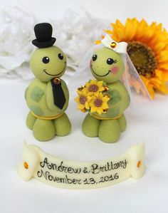 Turtle wedding cake topper, love turtles bride and groom with banner ...