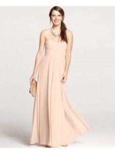 Strapless Shirred Sweetheart Floor Length Bridesmaid Dress