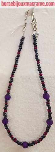 Bijoux _ Collana con perline viola e antracite