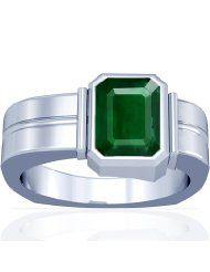 Platinum Emerald Cut Mens Emerald Ring
