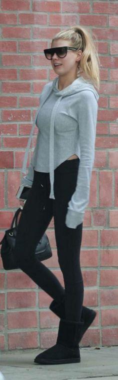 Who made Charlotte McKinney's black handbag, ankle boots, and gray hooded sweatshirt?