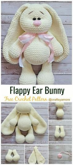 Crochet Amigurumi Bunny Toy Free Patterns Instructions The post Crochet . - Crochet Amigurumi Bunny Toy Free Patterns Instructions The post Crochet … - Crochet Easter, Bunny Crochet, Crochet Mignon, Cute Crochet, Crochet For Kids, Knit Crochet, Crochet Teddy, Crotchet, Crocheted Toys