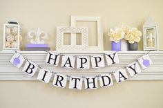 Birthday Banner, Happy Birthday Banner, First Birthday, Lavender Cupcakes
