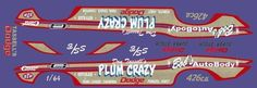 Don Tassell's Plum Crazy Dodge 1/64th HO Scale Slot Car Waterslide Decals #highline