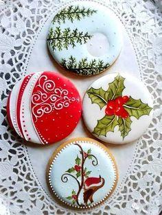 Beautiful Christmas cookies by ToniK ℬe Meℜℜy. Fancy Cookies, Iced Cookies, Cute Cookies, Cupcake Cookies, Cookies Et Biscuits, Cupcakes, Christmas Sugar Cookies, Christmas Sweets, Christmas Cooking