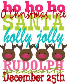 Rudolph Collection Subway Art web - Would be a nice iron-on for a homemade Christmas top!