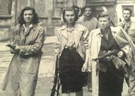 Italian female partisans during WWII in Rome after driving the Nazis from the city. Women fought and died alongside Italian men during WWII against Nazi Germany. Biddy Craft