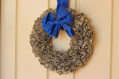 DIY Eco Wreath made from toilet rolls