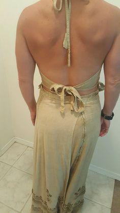 SHORE LINE Wrap Around Dress Size 10 Women's Beige 2 Piece Sexy Cleavage Fringe #ShoreLine #WrapDress #SummerBeach