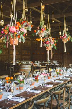 Hanging pots make a great substitute to table centerpieces when you have narrow tables: boho wedding inspiration Hanging Centerpiece, Table Centerpieces, Wedding Centerpieces, Centerpiece Ideas, Floral Centerpieces, Inexpensive Centerpieces, Rustic Wedding, Wedding Reception, Wedding Parties