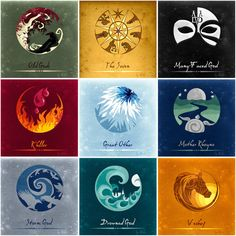 ASOIAF Gods By Nube by NubeNuvola (Claudia Cortassa) - the old god, the seven, the downed god, he storm god, mother rhoyne, r'hllor, the many faced god, the great other, the horse god