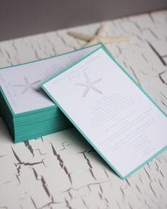 Beach Wedding Reception Menus - Starfish Design.