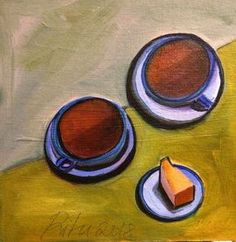 Tea cups and cheesecake by Jayati Gupta - view in room