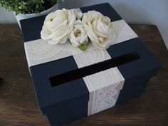 Hey, I found this really awesome Etsy listing at https://www.etsy.com/listing/103943418/navy-wedding-card-box-with-ivory-lace