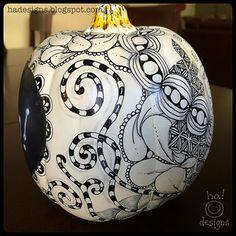 Zentangle® Inspired Art : Tangled Chalkboard Pumpkin (Right) by ha! designs