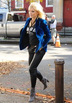 Leggy blonde! Also spotted on set was Cate Blanchett, 47, who looked sexy in a pair of figure-hugging black leather pants