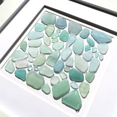 Sea Foam Collection | Sea Glass Art | Beach Mosaic | Genuine Sea Glass | Coastal Decor | Beach Art | Ocean Gift | 10x10 White Frame by RedIslandSeaGlass on Etsy Sea Glass Beach, Sea Glass Art, Sea Glass Crafts, Glass Photo, Glass Flowers, Beach Art, Sea Foam, Coastal Decor, A Table