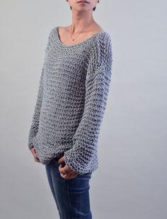 Simple es el mejor mano suéter hecho punto Eco algodón gris