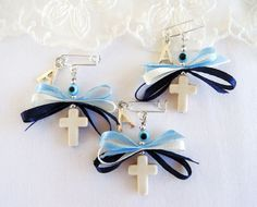 Boys Witness Pins, Martirika Martyrika, White Howlite Cross Ribbons, Silver Plated Baby's Initial Letter Charm and Evil Eye 10 pcsVess Unique Crafts by VessCrafts Baby Boy Games, Safety Pin Crafts, Faith Crafts, Wedding Favours Luxury, Baptism Favors, Baptism Ideas, Tilda Toy, Expecting Mom Gifts, Christian Crafts