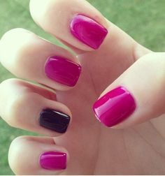 berry + black accent nails.