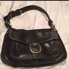 """Authentic Coach Bleeker Handbag Black Leather Coach Bag Tattersall Lining  Good  condition. Measurements: L 12"""" x H 7"""" x W 3""""  - Dual adjustable handles, strap drop approx: 8""""  -slip pocket on front and snap closure pocket on back - main flap snap closure  - Solid brass hardware   - Inside white multi-colored silk lining with COACH signature and Serial # L0769-11768  - Inside 1 zip and 2 slip-in pockets  - COACH embossed hang tag  - Georgous stitching with thick thread. Thick Leather well…"""