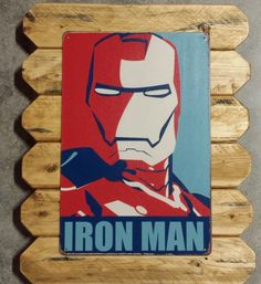 Iron man Retro Metal Poster Framed in distresses Pinewood by ArtMaxAntiques on Etsy