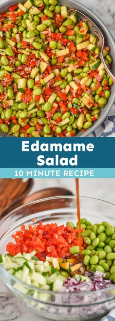This Edamame Salad is a simple recipe that makes for a great side dish! Done in 10 minutes, you will love all the flavors in this fast salad.  Learn all about how delicious it is and the farmers behind it. #ad #BestFoodFacts @bestfoodfacts Vegetarian Chili, Vegetarian Recipes, Cooking Recipes, Healthy Recipes, Healthy Food, Side Dishes Easy, Side Dish Recipes, Easy Salads, Easy Meals