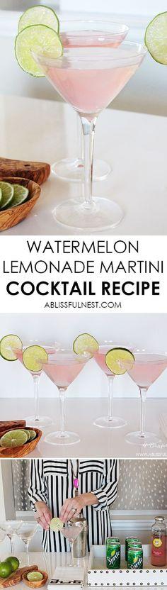 The perfect summer cocktail recipe! Delicious watermelon lemonade martini recipe parts Hubert's Lemonade Watermelon 1 small can of Sprite 1 part vodka limes – juice of lime and garnish Cointreau Cocktail, Martini Cocktail, Martini Party, Lemon Martini, Lemonade Cocktail, Vodka Martini, Fancy Drinks, Summer Drinks, Gastronomia