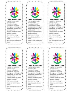 Snugglebug University: Free Girl Scouts' Kaper Chart and Bookmark
