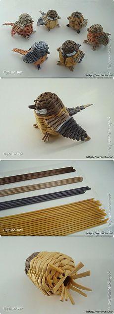 Птички из газетных трубочек - синичка, зарянка и горихвостка