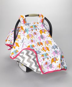 Another great find on #zulily! White & Orange Elephants Canopy Car Seat Cover #zulilyfinds