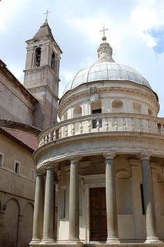 "The Tempietto, Rome. ""The Tempietto in the cloister of San Pietro in Montorio was built by Bramanate after 1502, on the commission of the Spanish monarchs, Ferdinand of Aragon and Isabella of Castile."