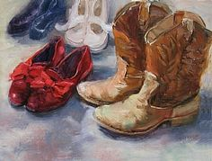 """"""" by Mary Maxam Oil ~ 12 x 16 Dance Silhouette, Shoe Art, Painted Shoes, Red Shoes, Shoe Boots, Mary, Oil, Watercolours, Idaho"""