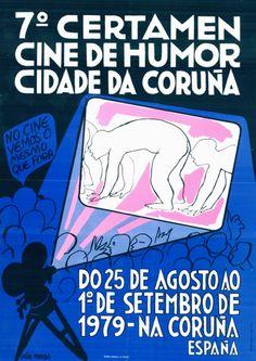 Tipografía Galega - Cartaz de Isaac Díaz Pardo para o 7º certamen cine de humor - Cidade da Coruña, 1979
