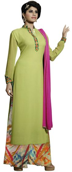 Semi Stitched Georgette Embroidered Anarkali Suit M344-10014 At Aimdeals.com