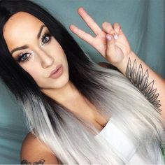 Beautiful in the classic Silver Ombre so foxy! In stock now! Silver Ombre, Grey Ombre, Wig Styles, Long Hair Styles, Lush Wigs, Black Roots, Ombre Wigs, Hair Flip, Pretty Hairstyles