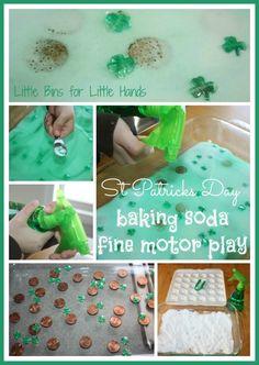 """Magic"" St. Patricks Day Baking Soda / Fine Motor Play (from Little Bins for Little Hands)"