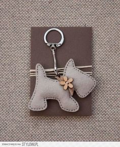 Items similar to Little Dog with a Wooden Flower Button - Keychain Pendant on Etsy crafts crafts crafts decoracion crafts Felt Crafts, Fabric Crafts, Sewing Crafts, Sewing Projects, Felt Keyring, Felt Dogs, Wooden Flowers, Diy Flowers, Felt Decorations